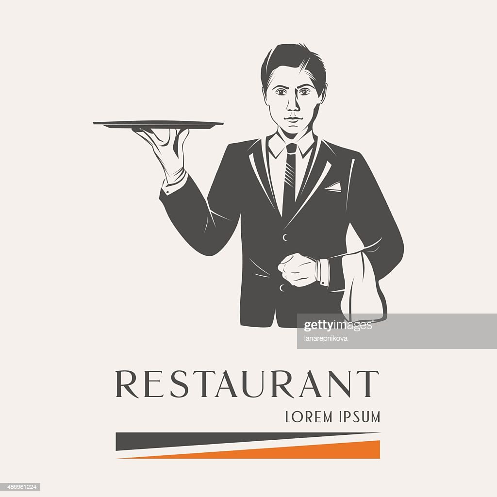 Waiter holding a tray isolated vector