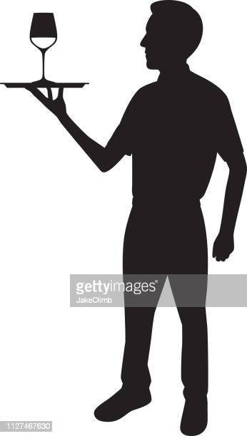 Waiter Holding Tray with Wine Glass Silhouette