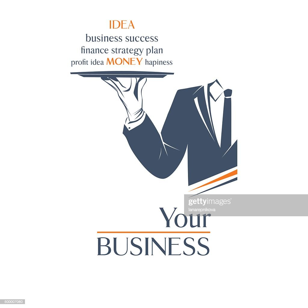 Waiter holds a tray with sign. Your business idea sign.