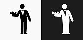 Waiter Icon on Black and White Vector Backgrounds