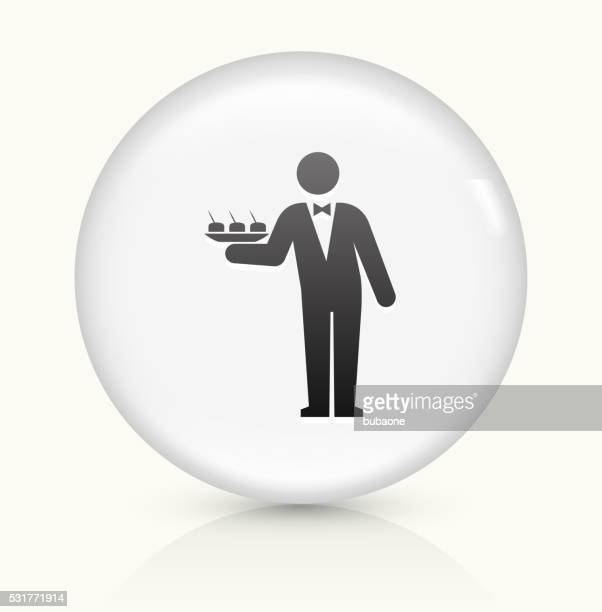 Waiter icon on white round vector button