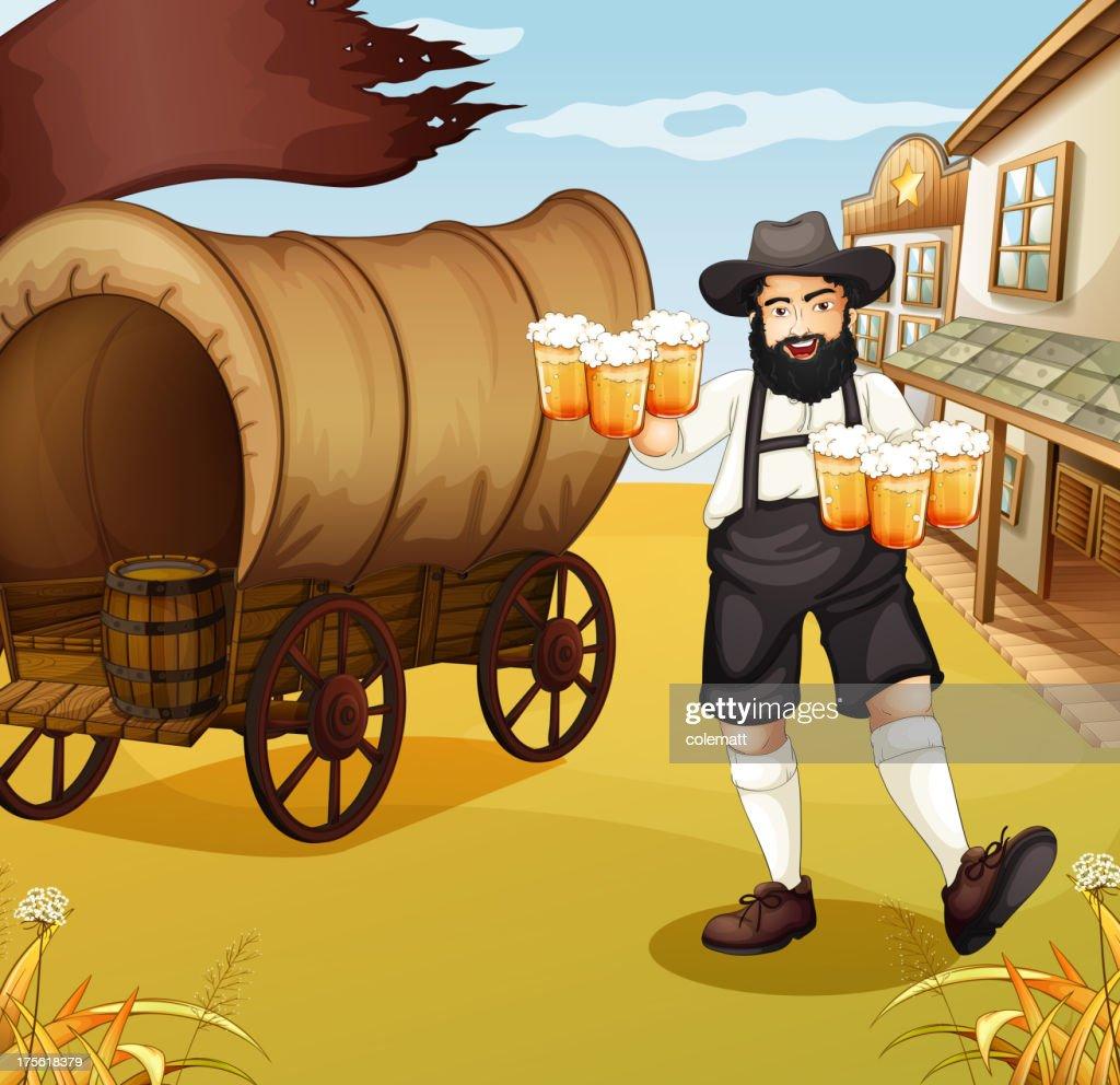 Waiter near the wagon