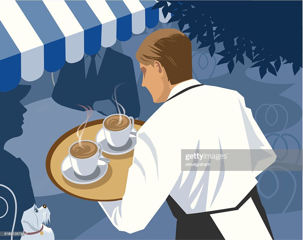 Waiter serving Coffee at a Cafe