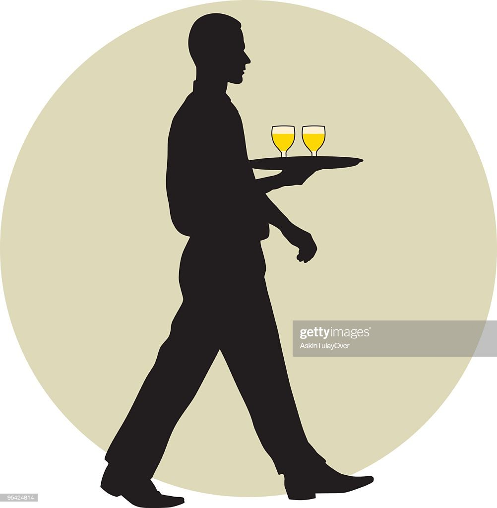A waiter silhouette carrying two drinks