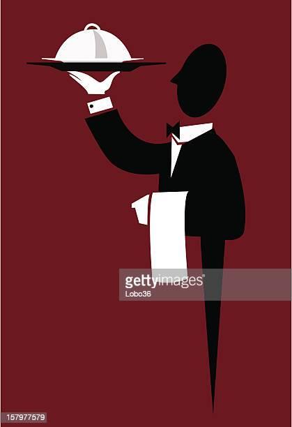 waiter - butler stock illustrations, clip art, cartoons, & icons