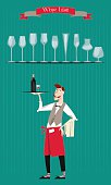 Waiter with a tray of drinks. Wine List. Wine glasses silhouettes.