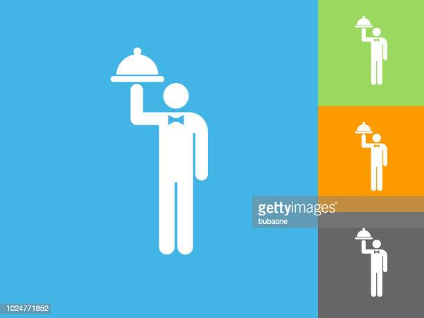 Waiter with Dish  Flat Icon on Blue Background