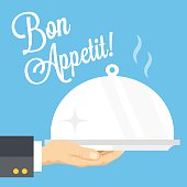 Waiter's hand with cloche and serving tray. Flat vector illustration