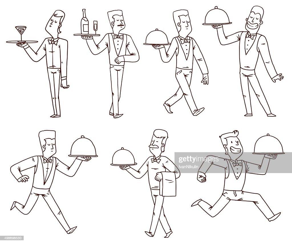 Waiters set, line art