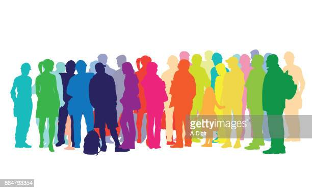 waiting around crowded people - rainbow stock illustrations, clip art, cartoons, & icons