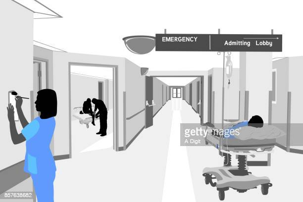 waiting for treatment hospital - corridor stock illustrations, clip art, cartoons, & icons