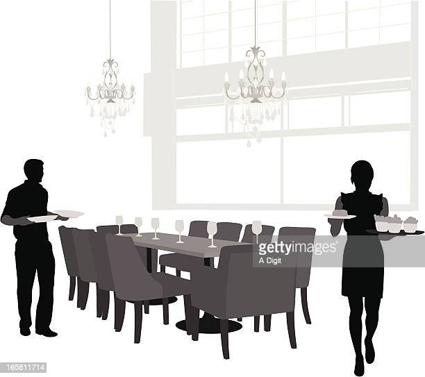 Waiting Tables Vector Silhouette