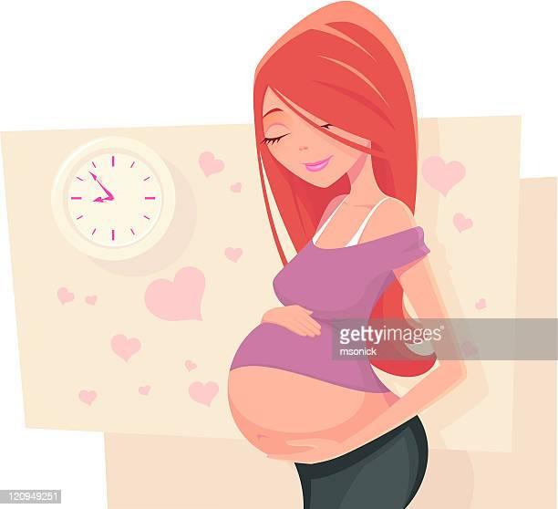 waiting - pregnant stock illustrations
