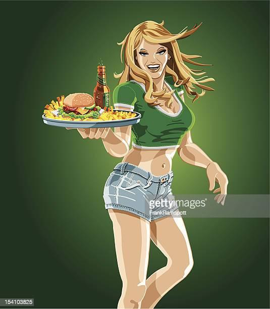 Waitress Holding Tray of Hamburger, Beer and Fries