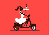 Waitress Silhouette with wine bottle, glasses and vespa scooter