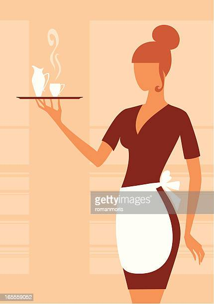waitress - top knot stock illustrations, clip art, cartoons, & icons