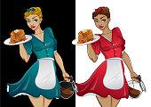 Waitress vector mascot.