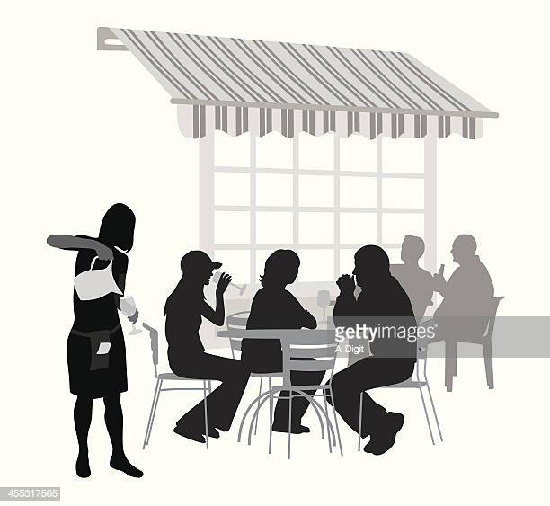 waitress'n patrons vector silhouette - awning stock illustrations, clip art, cartoons, & icons