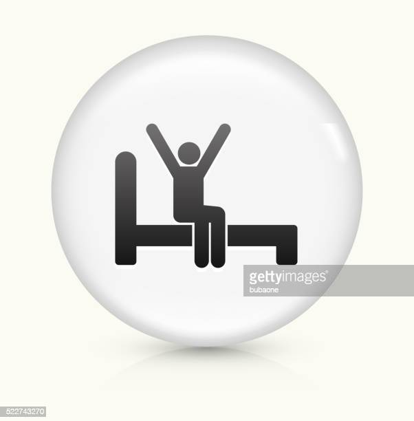 Waking Up icon on white round vector button