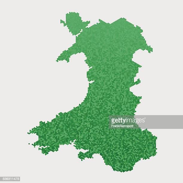 Wales Map Green Hexagon Pattern