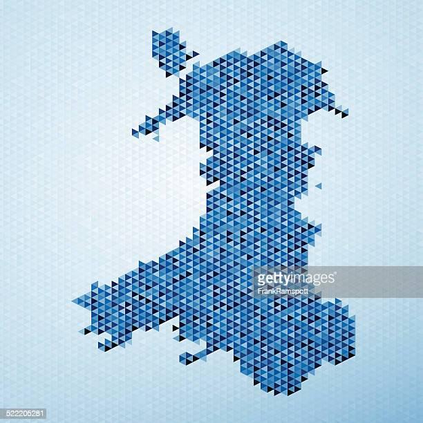 Wales Map Triangle Pattern Blue