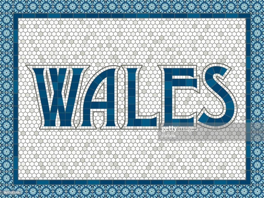Wales Alte Altmodische Mosaik Fliesen Typografie Vektorgrafik - Alte mosaik fliesen