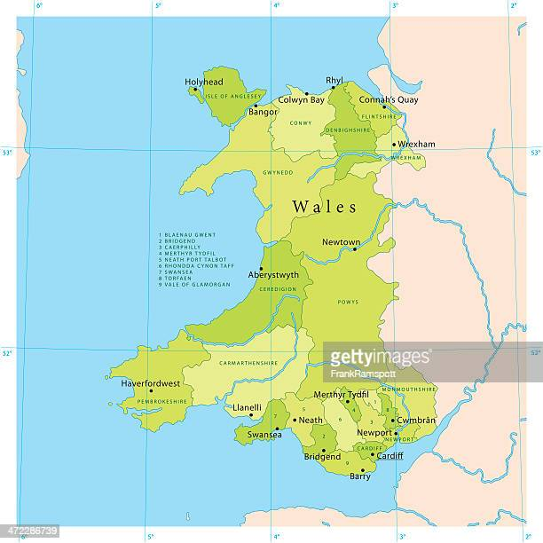 wales vector map - north wales stock illustrations