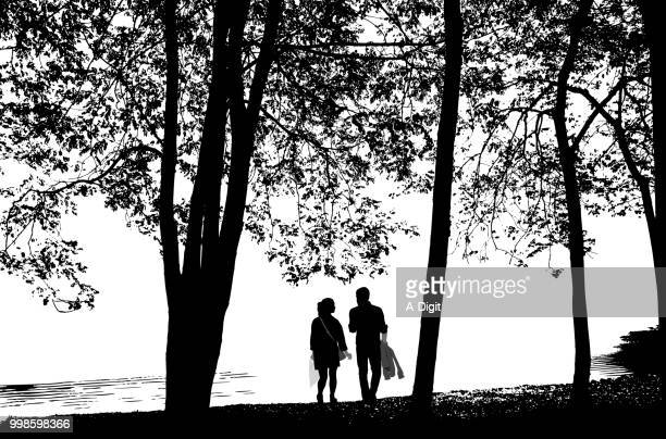 walk by the lake - heterosexual couple stock illustrations, clip art, cartoons, & icons