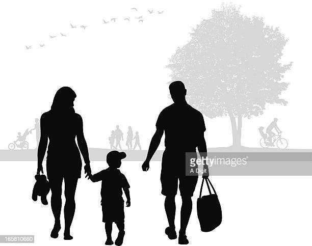 walk in the park vector silhouette - three wheeled pushchair stock illustrations, clip art, cartoons, & icons