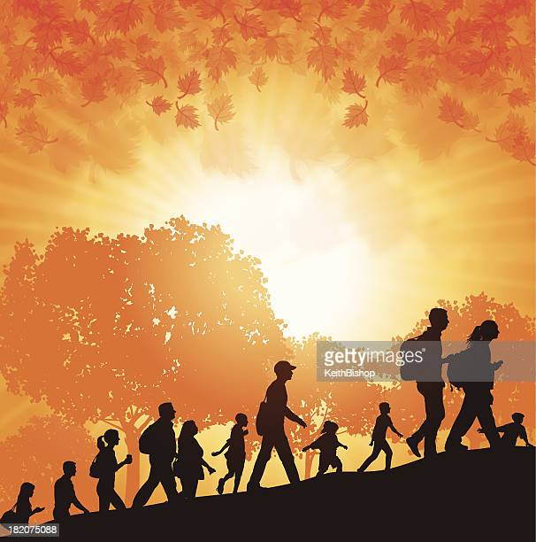 walk-a-thon or hikers in autumn background - racewalking stock illustrations, clip art, cartoons, & icons