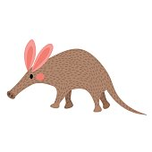 Walking Aardvark animal cartoon character vector illustration.
