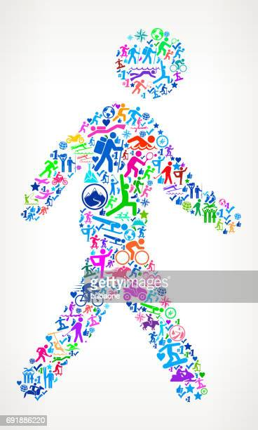 walking  active lifestyle vector icon pattern - pedestrian stock illustrations, clip art, cartoons, & icons