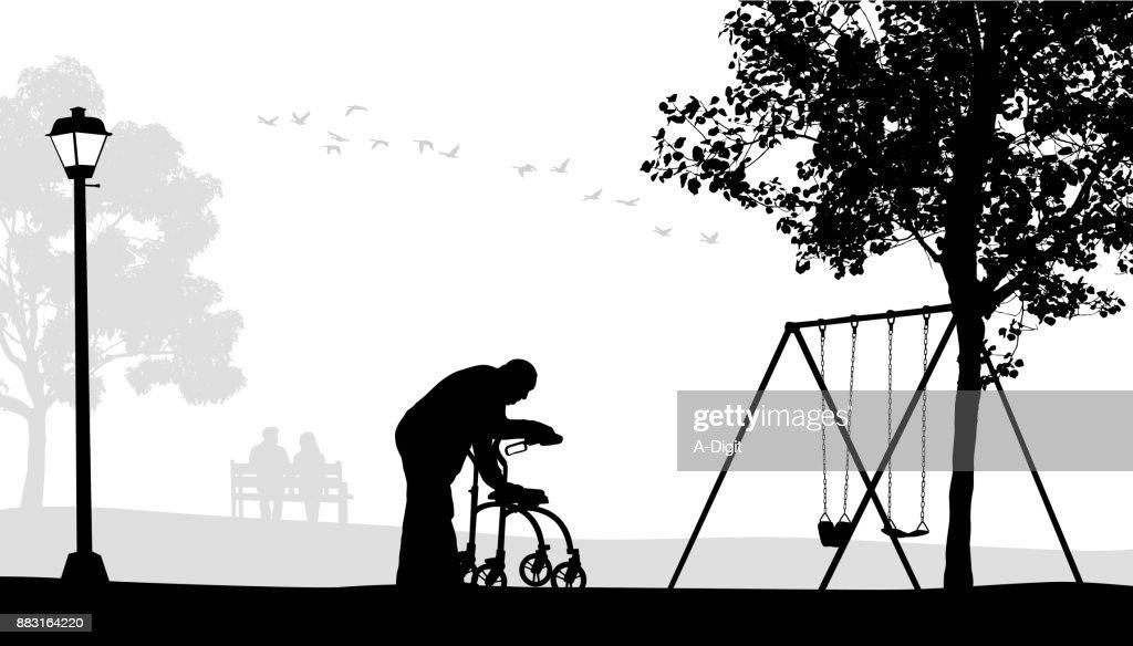 Walking Alone Elderly : stock illustration