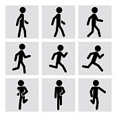 Walking and running people vector icons