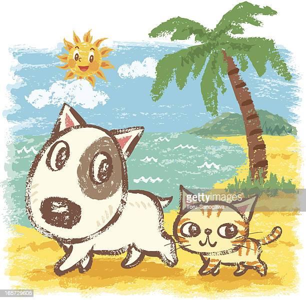 A los animales en la playa