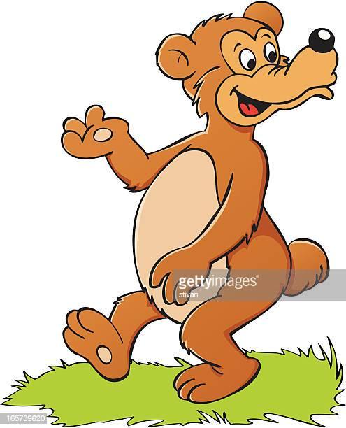 walking bear - cartoon characters with big noses stock illustrations, clip art, cartoons, & icons