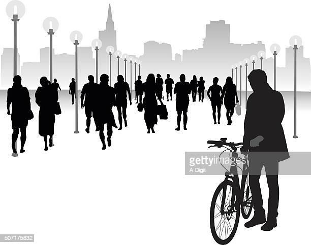 Walking Bicycle On Pedestrian Walkways