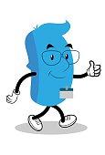 walking blue businessman