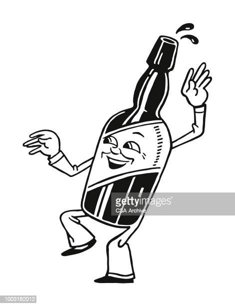 walking bottle character - beer alcohol stock illustrations, clip art, cartoons, & icons