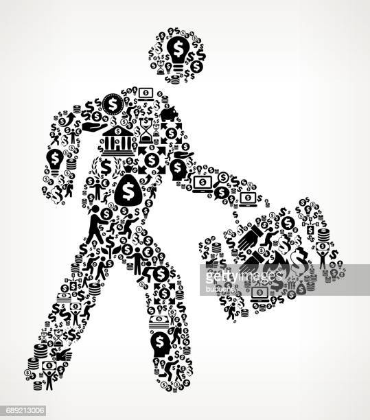 Walking & Briefcase  Money and Finance Black and White Icon Background