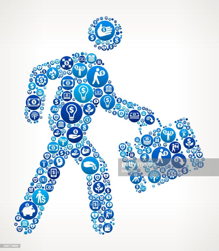 Zu Fuß & Aktentasche Geld blaues Symbol Muster Hintergrund : Stock-Illustration