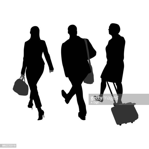 walking business group - business travel stock illustrations, clip art, cartoons, & icons