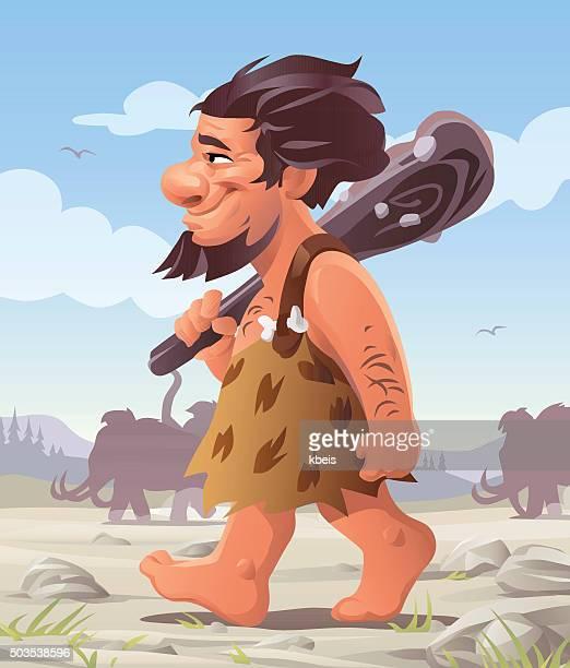 walking caveman - paleolitico stock illustrations
