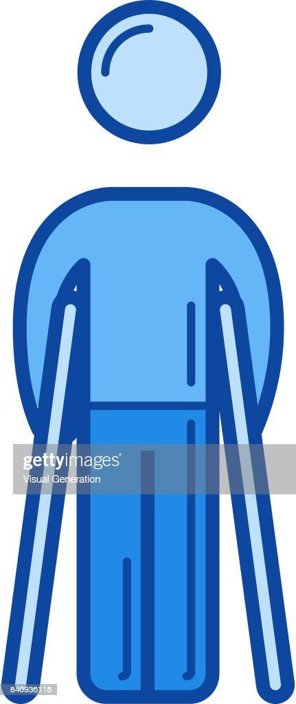 Walking crutches line icon