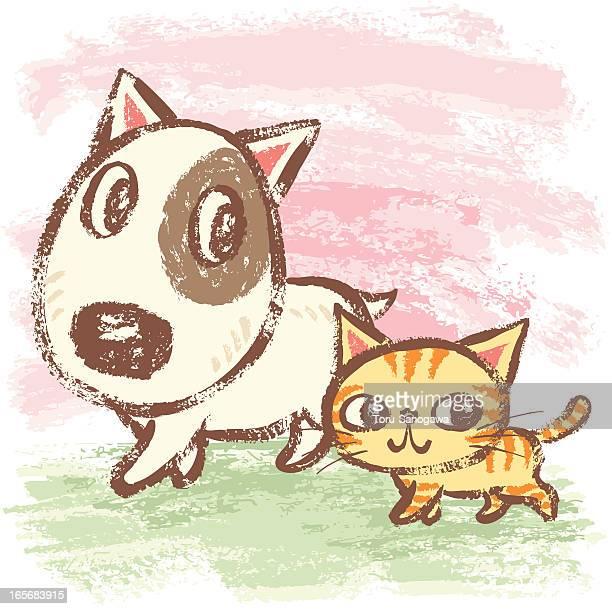 Pasos de perro y gato