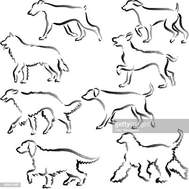 Walking dogs Hand Drawn