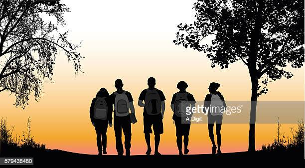 walking home from school with friends - back stock illustrations