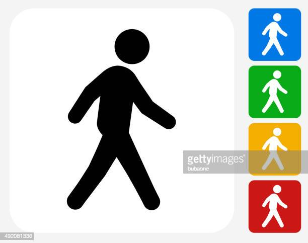 walking icon flat graphic design - pedestrian stock illustrations, clip art, cartoons, & icons