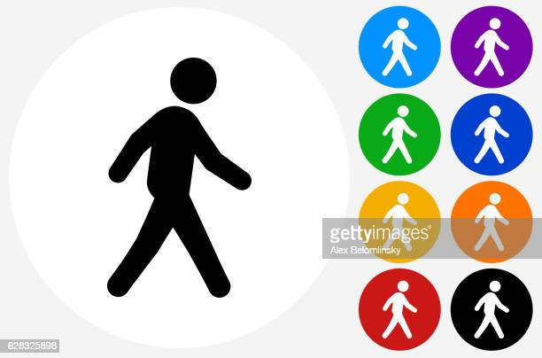 walking icon on flat color circle buttons - pedestrian stock illustrations