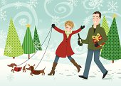 Walking in a winter wonderland with dogs